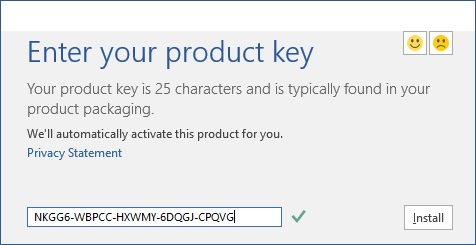 Enter Microsoft Office 2016 Product Key