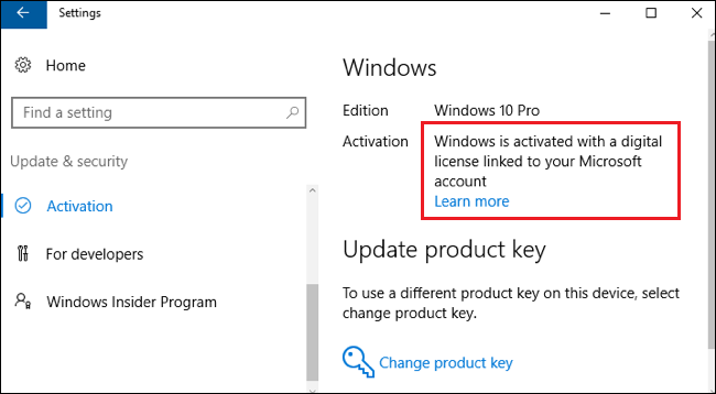 Windows is activated with a digital license linked to your Microsoft account.