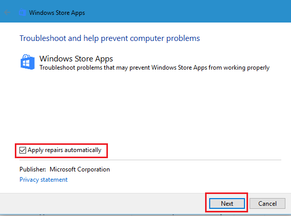 Apply repairs automatically for troubleshooting to fix windows 8 apps not working