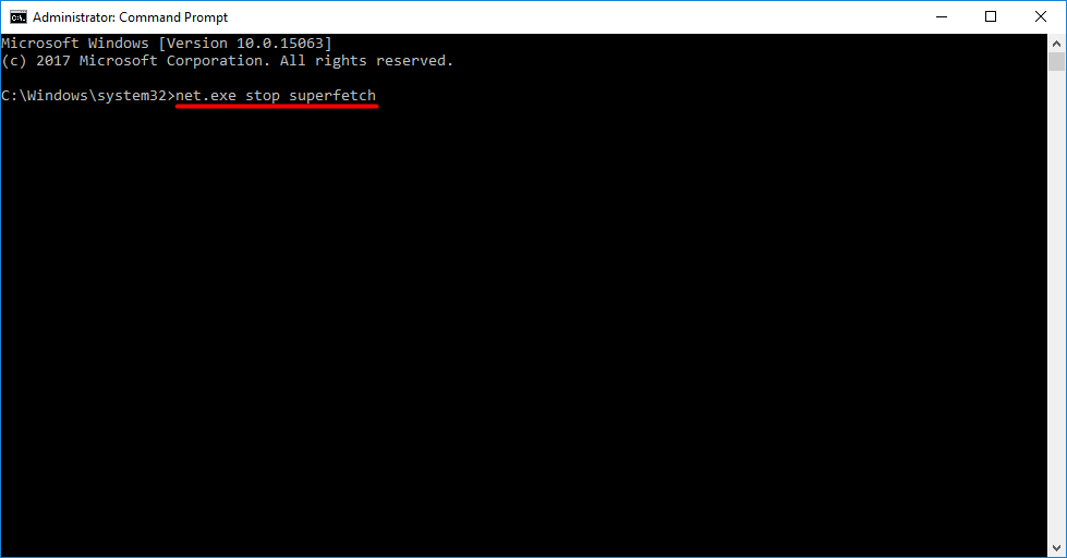 "At Command Prompt, type ""net.exe stop superfetch"" and press Enter"