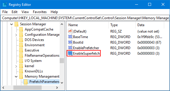Enable or Disable Superfetch using Registry Editor