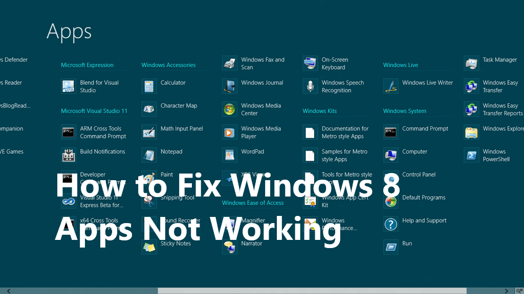 How to Fix Windows 8 Apps Not Working