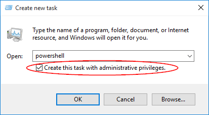 Open Powershell and Create this task with administrative privileges