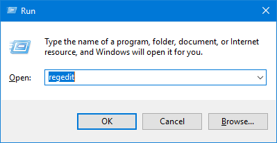 Press the Windows key + R to open the Run prompt, then type regedit and press Enter