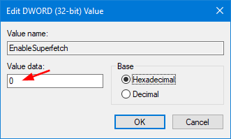 To disable SuperFetch, change Value Data to 0 and click OK