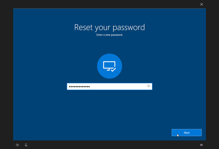 reset or change password of windows 10
