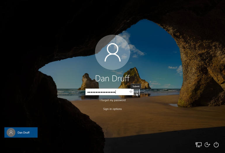 log in with windows 10 new password