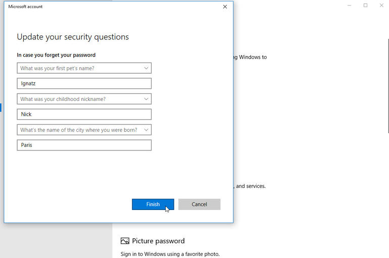 Answer the security questions