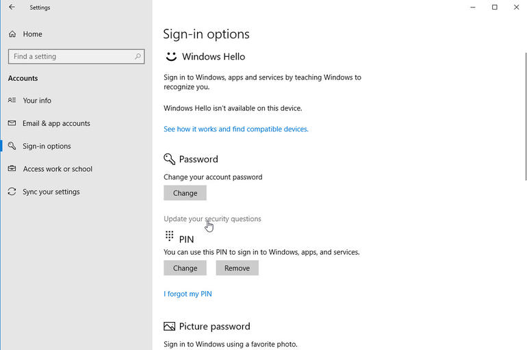 security question for windows 10 password reset