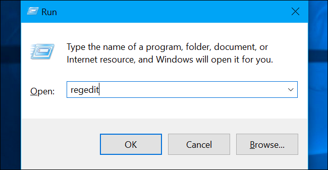 Type 'regedit' in the Run box to turn off cortana using registry editor