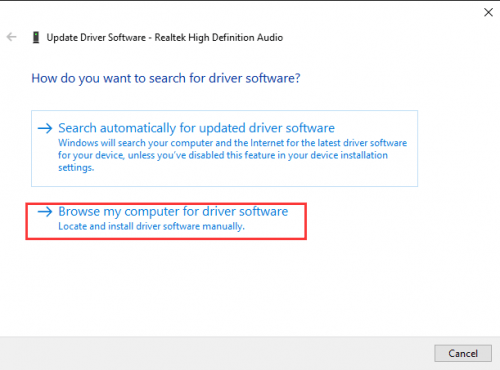 Click Browse my computer for driver software update