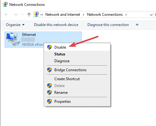 Disable all Additional network Connections