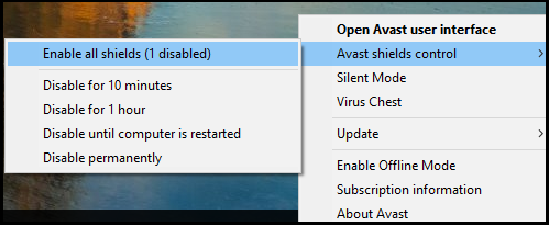 Disable the Third-Party Antivirus to Fix Windows Update Error 0x800703ee in Windows 10