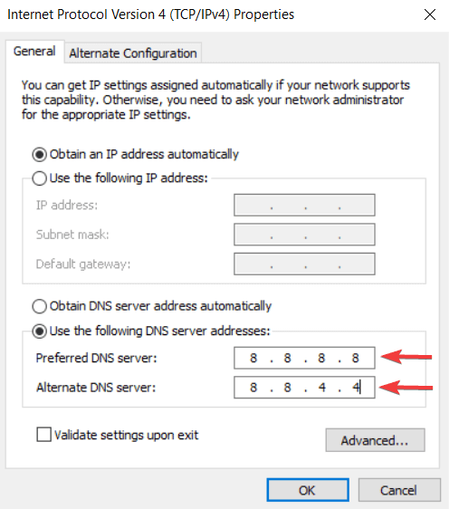 Set DNS Server Manually to fix DNS server is not responding error on windows