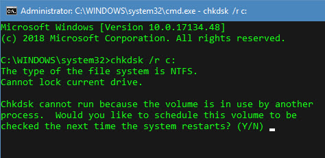 Use CHKDSK command to Auto Repair Bad Sectors for resolving Unmountable boot volume error