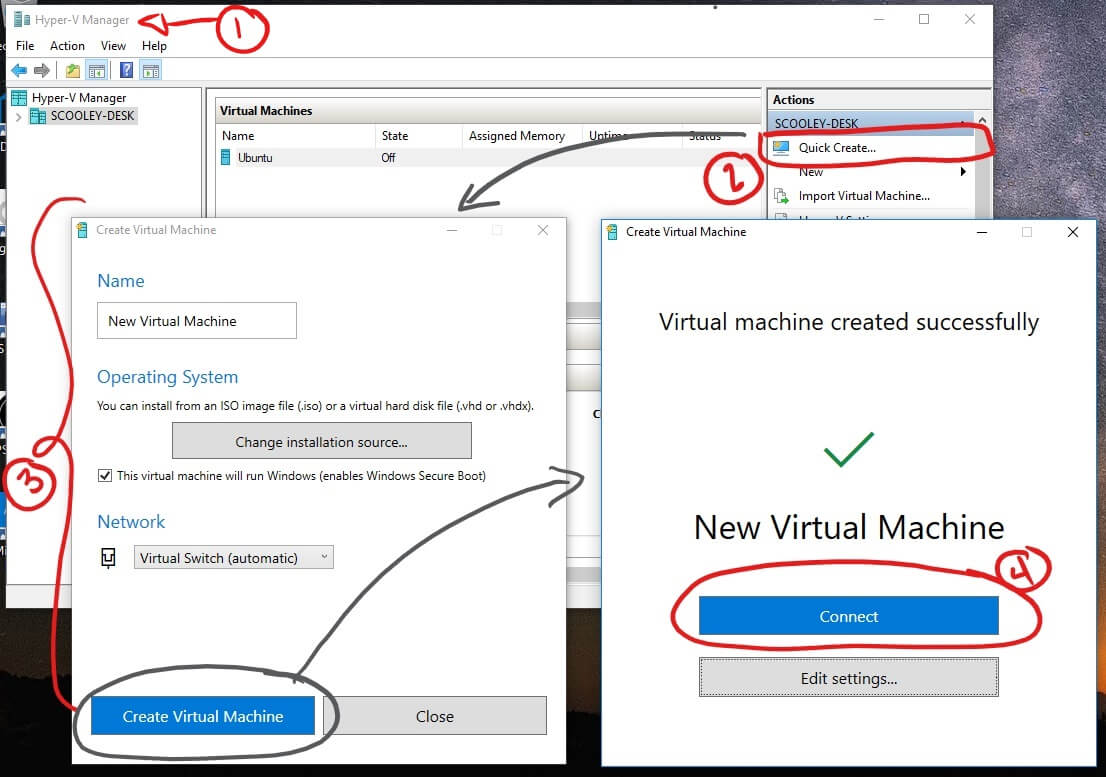 create virtual machine on Windows 10 using Hyper-V Manager