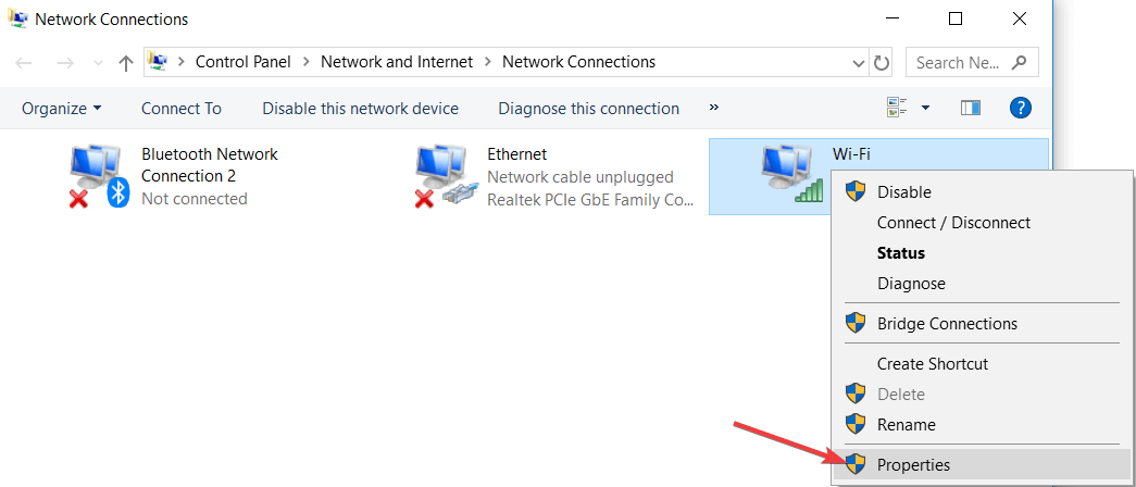 select the active network connection and then right-click on it and choose Properties