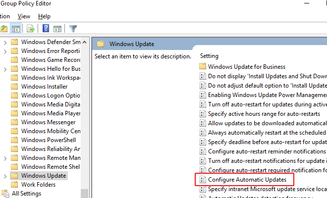 select Configure Automatic Updates