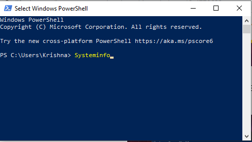 type Systeminfo in powershell command box
