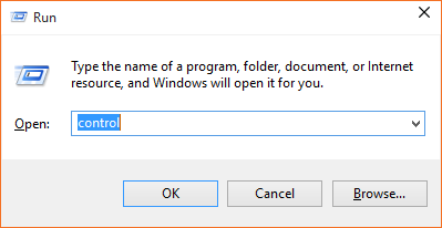 Get Control Panel in Windows 10 from the Run Dialog Box
