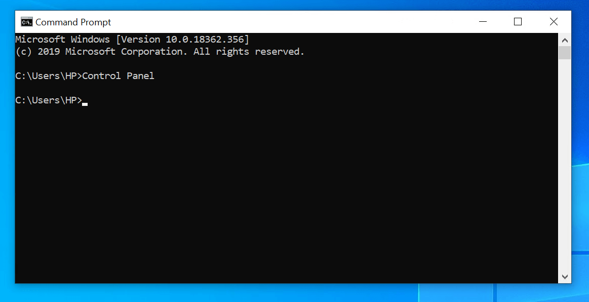 How to find Control Panel in Windows 10 via command prompt