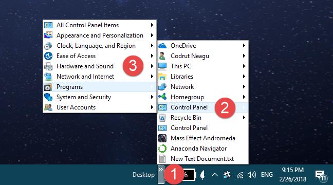 Get Control Panel via the Desktop Toolbar on the Taskbar