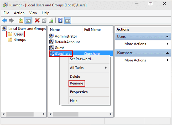 Open the Users folder, right-click a user and select Rename in the menu