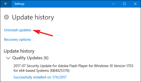 Uninstall updates on windows 10