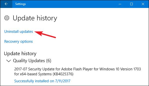 Uninstall updates on windows 10