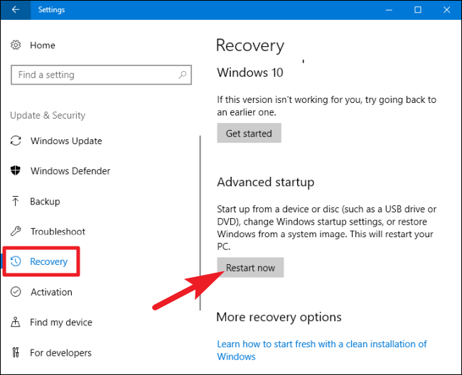 Use Recovery Options to Access Windows 10 Safe Mode - click on Recovery option