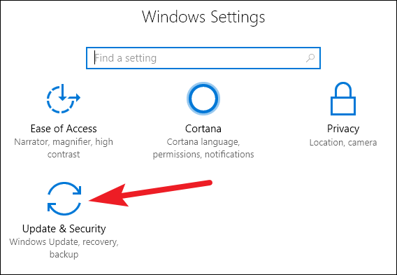 Use Recovery Options to Access Windows 10 Safe Mode - click on Update and Security