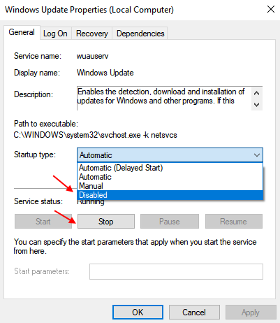 Disable Windows update service to Speed Up Internet in Windows 10