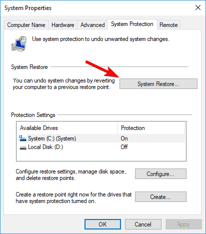 problem resetting your pc 3 - use system restore point