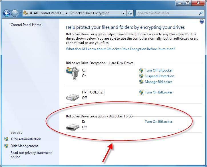 Turn On BitLocker Drive Encryption