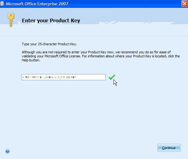 enter microsoft office 2007 activation key